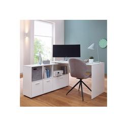 FINEBUY Schreibtisch SuVa11915_1, Schreibtischkombination 136 cm Weiß Schreibtisch mit Sideboard Winkelschreibtisch Home Office Tisch Büro Modern weiß