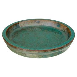 Dehner Blumentopf Untersetzer, Keramik, glasiert, grün Ø 28 cm x 4,5 cm