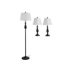 HOMCOM Stehlampe 3er- Lampenset 2 Tischlampen + 1 Stehlampe