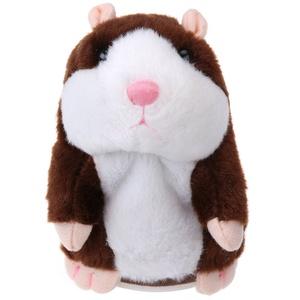 TOYMYTOY Sprechender Hamster Plüsch-Spielzeug wiederholt was Sie sagen, Mimikry Haustier-Spielzeug Elektronische Schallplatten-Spielzeug für Kinder, frühes Lern-Geschenk (braun)