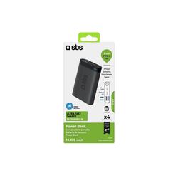 sbs SBS Powerbank 10000 mAh mit 2x USB, 2.1A & 1A - Power Bank schwarz mit intelligenter Ladesteuerung - Externer Akku Powerbank