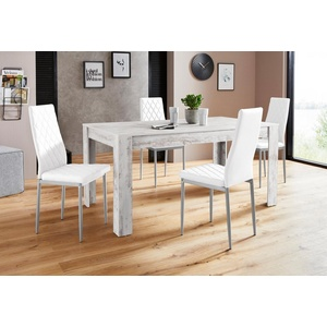 Essgruppe Lynn160/Brooke, (Set, 5-tlg), Tisch mit 4 Stühlen weiß