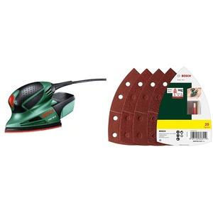 Bosch DIY Multischleifer PSM 100 A, 3 Schleifblätter K 80/ K 120/ K 160, Koffer + Bosch 25tlg. Schleifblatt Set (Holz, Füller, Spachtel, Farbe, Lack, Zubehör für Multifunktionswerkzeuge)