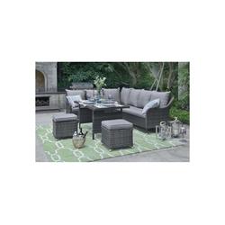 HTI-Living Sitzgruppe Terrassenmöbel Kreta, (1x Tisch, 2x Hocker, 2x 3-Sitzern, Inkl. Sitzkissen, 5-tlg), Terrassenmöbel