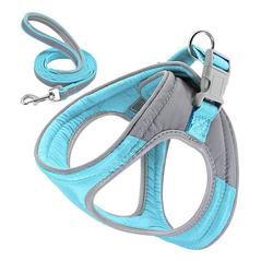 Rosnek Hunde-Geschirr Hundegeschirr Verstellbare Reflektieren Softgeschirr Katze Gepolstert Brustgeschirr + Leine, verstellbar von 33-39,36-45,42-50 blau S