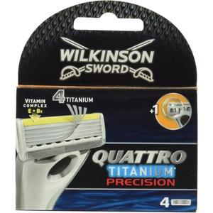 Wilkinson Sword Quattro Titanium Precision Rasierklingen für Herren Rasierer, 4 St