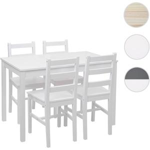 Esszimmer-Set HWC-F77, Sitzgruppe Esszimmergruppe, Massiv-Holz Landhaus 110cm ~ wei