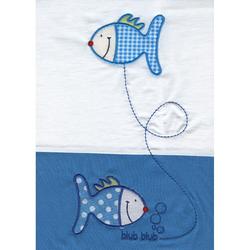 Odenwälder 2049-245 Gr.80/80 Bettwäsche Jersey azurblau Fische