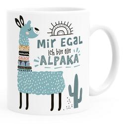 SpecialMe Tasse Kaffeetasse Spruch Mir egal ich bin ein Alpaka - Alpaka-Motiv Lama Geschenk Alpaka-Liebhaber Bürotasse SpecialMe® weiß