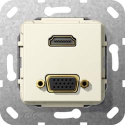 Gira 567701, HDMI™ VGA 15-p K-Peitsche Einsatz Cremeweiß