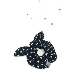 Wishproject® Haargummi Hochwertiges Scrunchie mit Schleife, Zitronenlimo Bunny, XXL Haargummi, Angenehmer Tragekomfort ohne Metall, Hergestellt in Deutschland schwarz