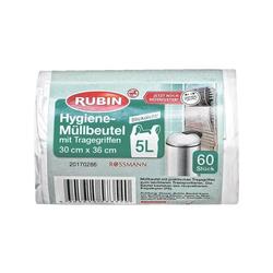 60 Müllbeutel mit Tragegriffen 5 L weiß, RUBIN, 30x36 cm