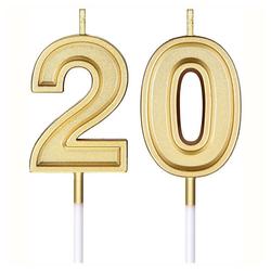 kueatily Duftkerze 20. Geburtstag Kerzen Kuchen Nummer Kerzen Alles Gute zum Geburtstag Kuchen Kerzen Topper Dekoration für Geburtstag Hochzeit Feier Lieferungen (Gold)