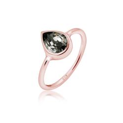Elli Fingerring Tropfen Kristalle 925 Silber, Tropfen rosa 58
