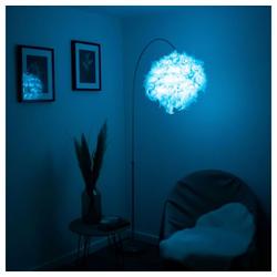 etc-shop LED Bogenlampe, LED Stehlampe Bogenleuchte mit Feder-Lampenschirm und RGB-Farbwechsler - Fernbedienung Wohn- Schlaf- Ess- Zimmer