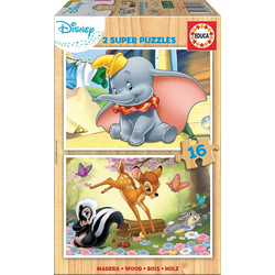 Educa - Dumbo & Bambi 2x16 Teile Holzpuzzle