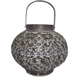 elbmöbel Laterne Metalllaterne silber grau Kugel, Windlicht: Laterne 20x18x20 cm silber orientallisch