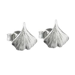 Gallay Paar Ohrstecker Stecker 9mm Ginkgoblatt glänzend Silber 925 (inkl. Schmuckbox), Silberschmuck für Damen