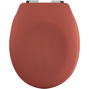 spirella Premium Toilettendeckel oval Klodeckel mit matten Finish und Softclose Absenkautomatik. Antibakterielle Klobrille aus Duroplast und rostfreiem Edelstahl - Terracotta