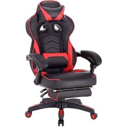 Woltu Gaming-Stuhl BS71, Gaming Stuhl mit Kopfstütze und Lendenkissen,Army rot