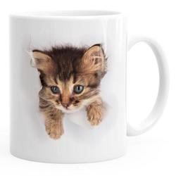 MoonWorks Tasse Kaffee-Tasse mit süßem Katzen-Aufdruck Katzen Baby schaut aus der Tasse MoonWorks®