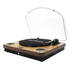 Aiwa Multifunktionsspieler (AIWA GBTUR-120 Plattenspieler Bluetooth Radio Turntable Schallplatten) braun