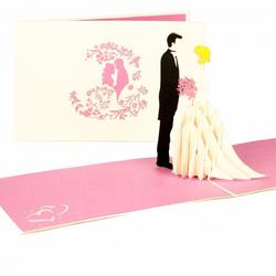 Colognecards Pop-Up Karte Brautpaar pink