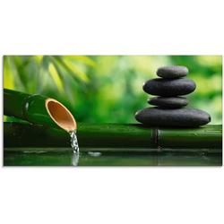 Artland Glasbild Bambusbrunnen und Zen-Stein, Zen (1 Stück) 60 cm x 30 cm