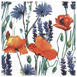 Linoows Papierserviette 20 Servietten, Sommerblumen, Mohn, Lavendel und, Motiv Sommerblumen, Mohn, Lavendel und Kornblumen