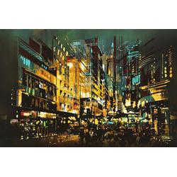 queence Leinwandbild Beleuchtete Stadt 60 cm x 40 cm x 2 cm