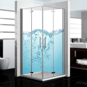 dedeco Eck-Duschrückwand wasserfest mit Ozean V7 Motiv - 2 x 90x200 cm, als Badrückwand zum Fliesenersatz, als Dekorwand, Wandverkleidung und Duschplatte aus hochwertigem Aluminium - Made in Germany