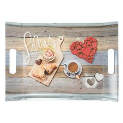 Lashuma Tablett Frühstück, Melamin, Kunststofftablett aus Italien, Geschirrtablett mit Griffen bunt 38 cm x 27 cm x 3 cm