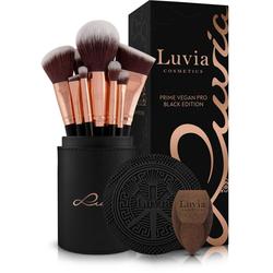 Luvia Cosmetics Kosmetikpinsel-Set Prime Vegan Pro Black Edition, 15 tlg.
