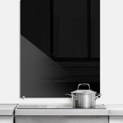 Wall-Art Küchenrückwand Spritzschutz Schwarz, (1-tlg) 80 cm x 60 cm x 0,4 cm