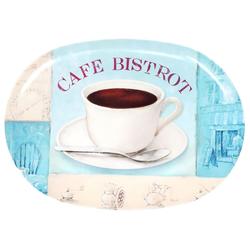 Lashuma Tablett Bistrot, Melamin, Ovales Serviertablett, Kaffeetablett Kunststoff 28 cm x 40 cm x 1.5 cm