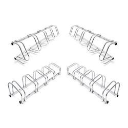 4er Set Fahrradständer Mehrfachständer Fahrradhalter Bügelparker Wand und Boden silber