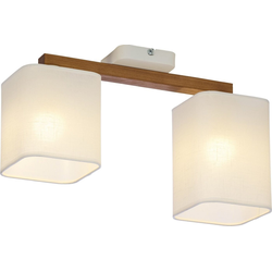 Licht-Erlebnisse Deckenleuchte IMALE Weiße Deckenleuchte gebürstetes Holz wohnlich eckig Flur Lampe