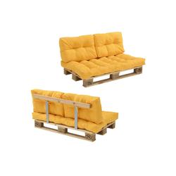 en.casa Palettenkissen, Telde Palettensofa Palettenmöbel inkl. Kissen Lehne und Palette in verschiedenen Farben gelb
