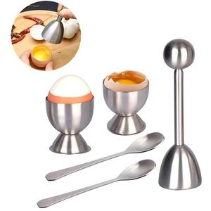 Wuudi Eierköpfer Set, Zeitsparender Eierschneider aus hochwertigem Edelstahl mit 2 Eierbecher, 2 Eierlöffel für Harte und Weiche Eier, Küchewerkzeug
