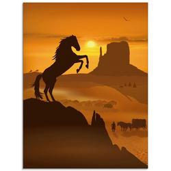 Artland Glasbild Freiheit für den schwarzen Mustang, Haustiere (1 Stück) 60 cm x 80 cm x 1,1 cm