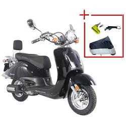 ALPHA MOTORS Komplett-Set: Motorroller Retro Firenze, 125 ccm, 80 km/h schwarz