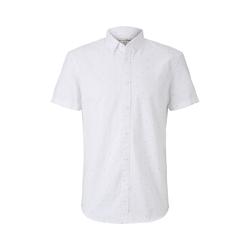 TOM TAILOR DENIM Herren Gepunktetes kurzärmliges Hemd, weiß, Gr.L
