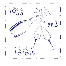 Feierlichkeiten Holzstempel - Sekt (50x50mm)