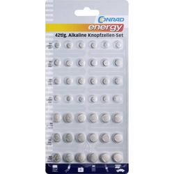 Knopfzellen-Set 6x AG1, 12x AG3, 6x AG4, 9x AG10, 3x AG12, 6x AG13